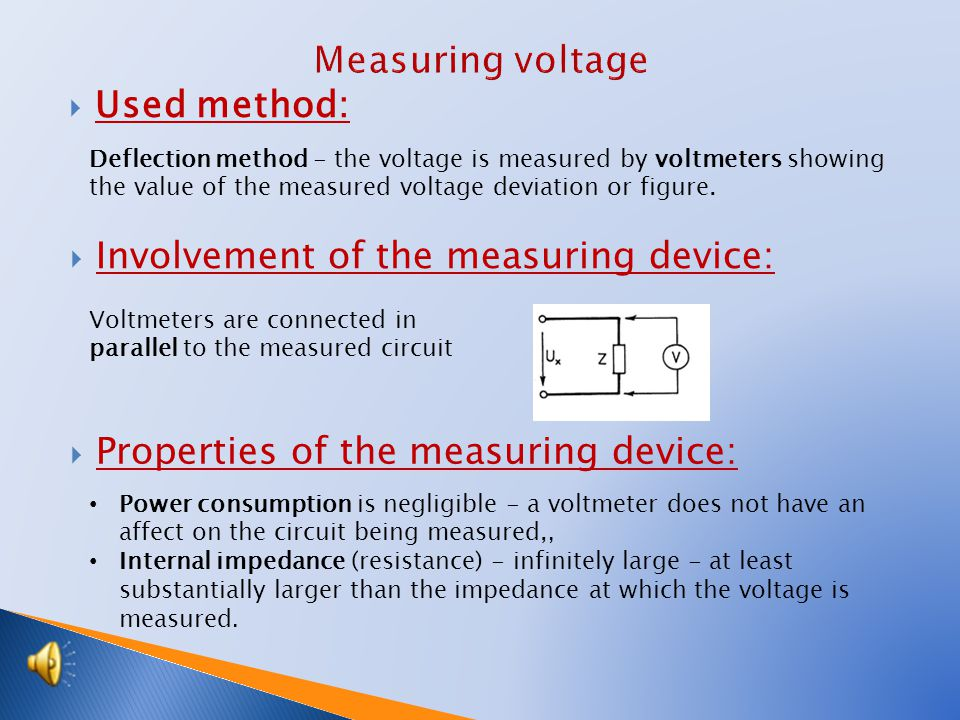  Used method: Deflection method - the voltage is measured by voltmeters showing the value of the measured voltage deviation or figure.