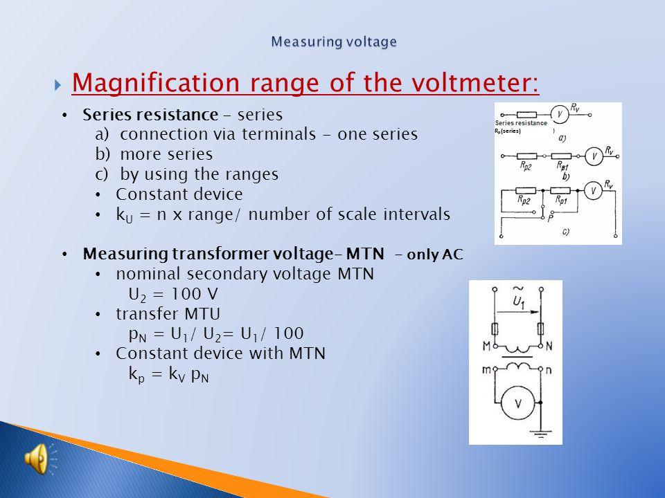  Magnification range of the voltmeter: Series resistance - series a)connection via terminals - one series b)more series c)by using the ranges Constant device k U = n x range/ number of scale intervals Measuring transformer voltage– MTN - only AC nominal secondary voltage MTN U 2 = 100 V transfer MTU p N = U 1 / U 2 = U 1 / 100 Constant device with MTN k p = k V p N