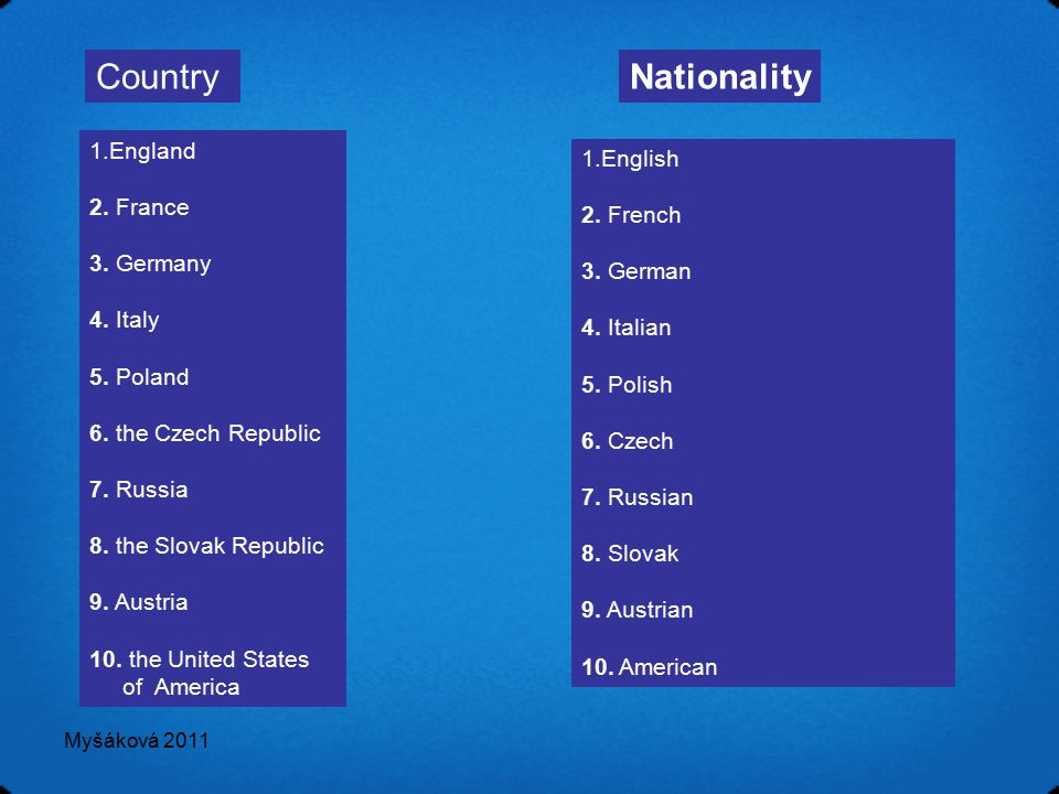 Myšáková 2011 CountryNationality 1.England 2. France 3. Germany 4. Italy 5. Poland 6. the Czech Republic 7. Russia 8. the Slovak Republic 9. Austria 1