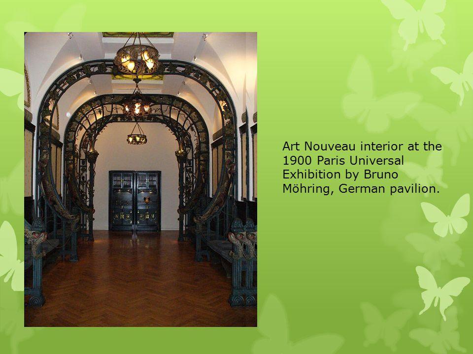 Art Nouveau interior at the 1900 Paris Universal Exhibition by Bruno Möhring, German pavilion.