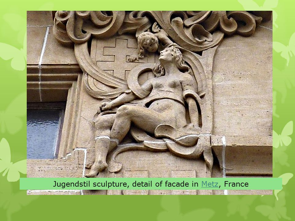 Jugendstil sculpture, detail of facade in Metz, FranceMetz
