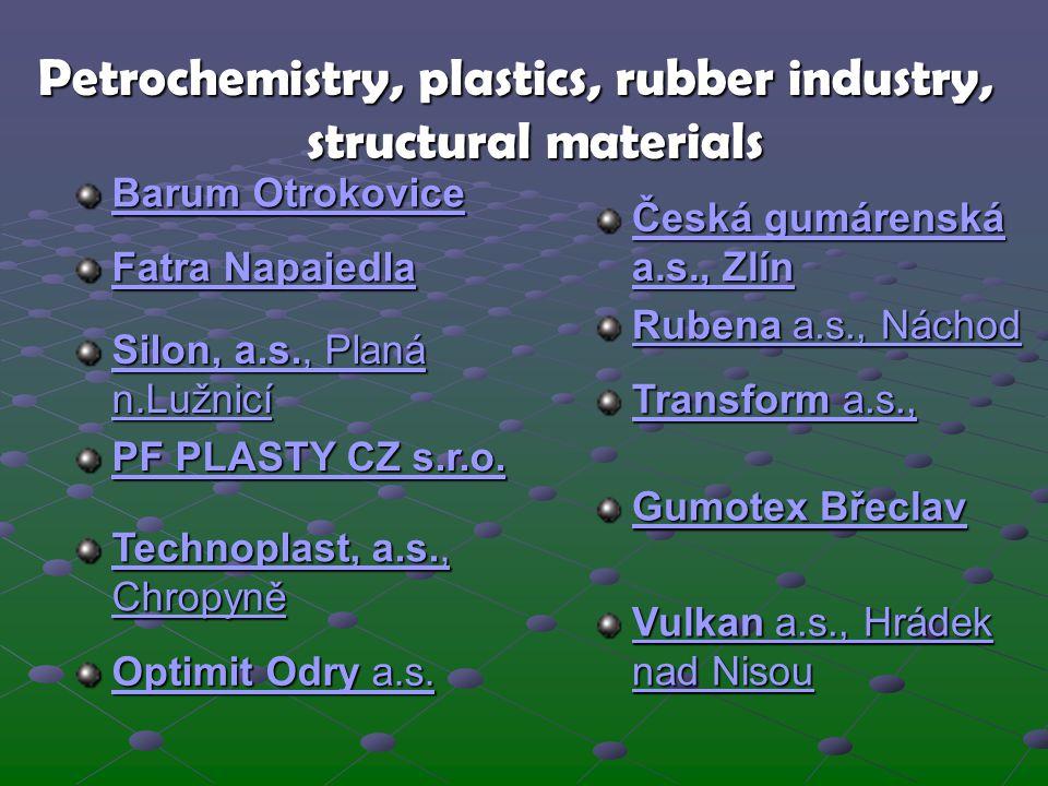 Petrochemistry, plastics, rubber industry, structural materials Barum Otrokovice Barum Otrokovice Česká gumárenská a.s., Zlín Česká gumárenská a.s., Z