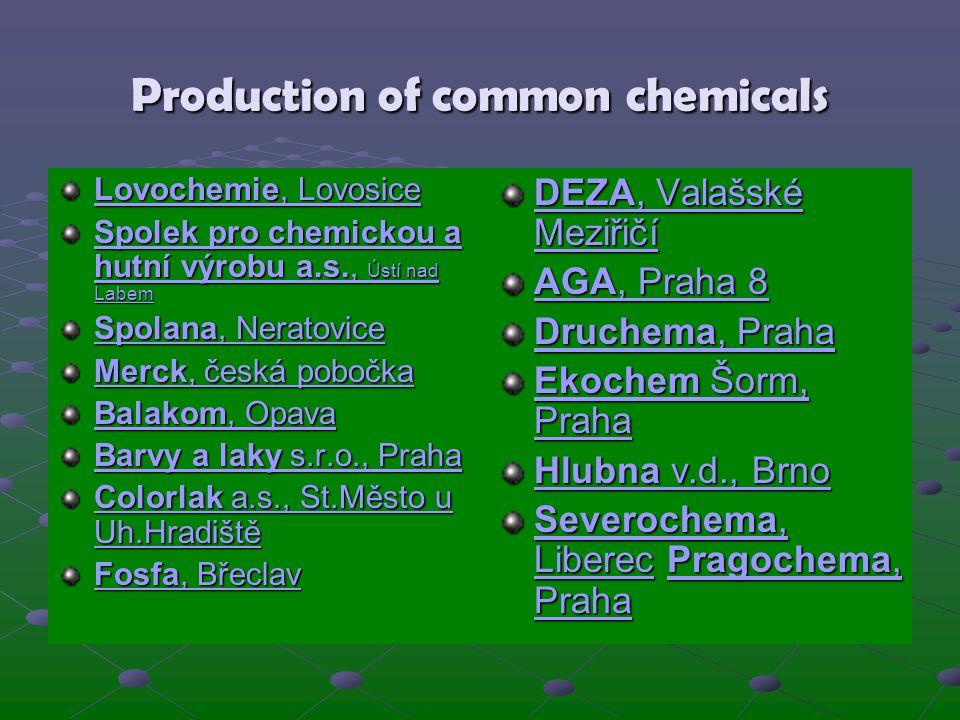 Production of common chemicals Lovochemie, Lovosice Lovochemie, Lovosice Spolek pro chemickou a hutní výrobu a.s., Ústí nad Labem Spolek pro chemickou