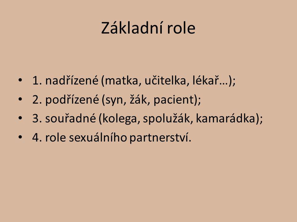 Základní role 1. nadřízené (matka, učitelka, lékař…); 2. podřízené (syn, žák, pacient); 3. souřadné (kolega, spolužák, kamarádka); 4. role sexuálního
