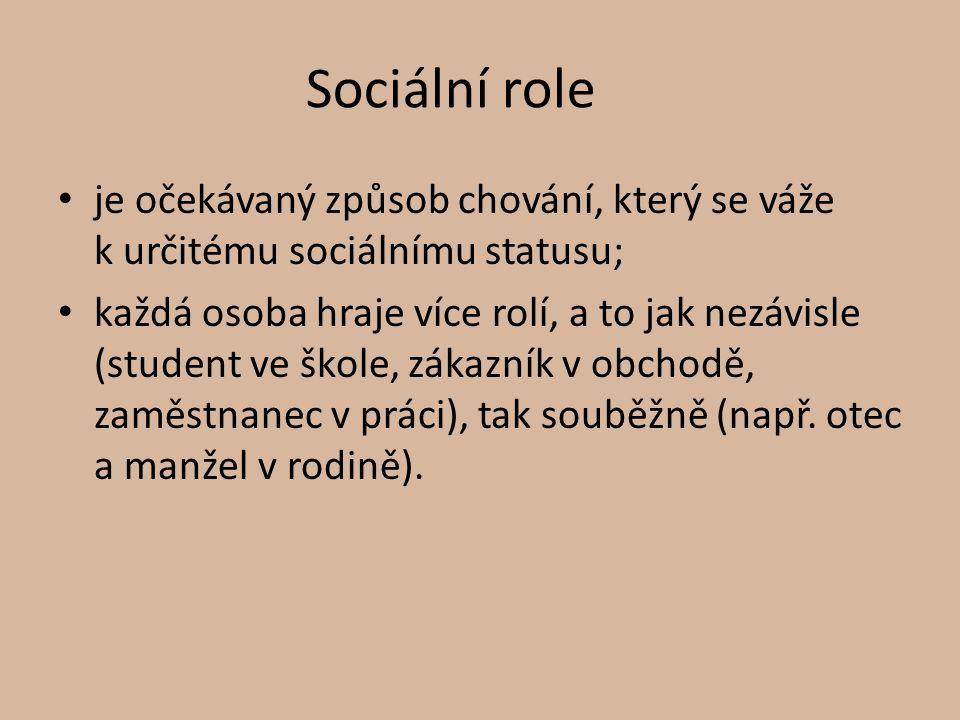 Sociální role je očekávaný způsob chování, který se váže k určitému sociálnímu statusu; každá osoba hraje více rolí, a to jak nezávisle (student ve šk