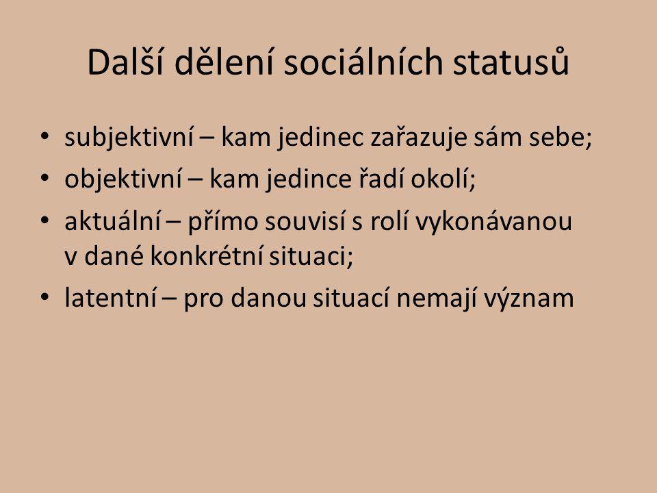 Další dělení sociálních statusů subjektivní – kam jedinec zařazuje sám sebe; objektivní – kam jedince řadí okolí; aktuální – přímo souvisí s rolí vyko