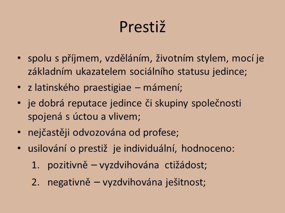 Prestiž spolu s příjmem, vzděláním, životním stylem, mocí je základním ukazatelem sociálního statusu jedince; z latinského praestigiae – mámení; je do