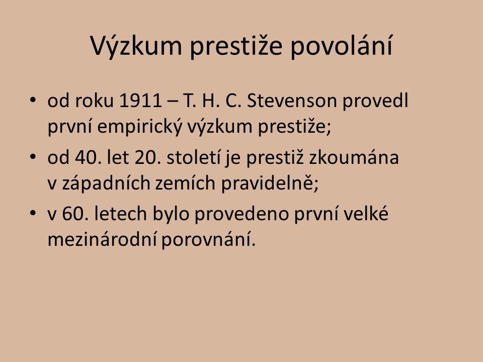 Výzkum prestiže povolání od roku 1911 – T. H. C. Stevenson provedl první empirický výzkum prestiže; od 40. let 20. století je prestiž zkoumána v západ