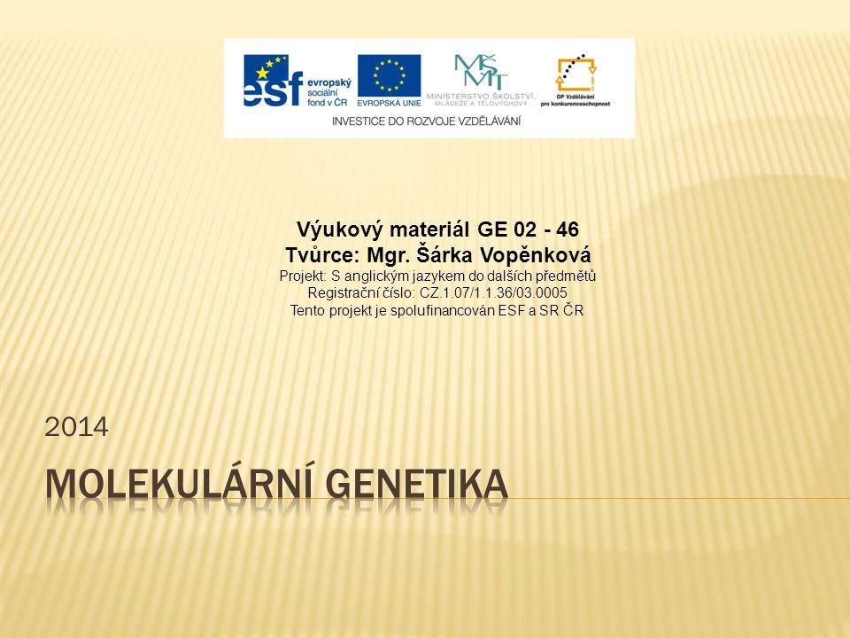 2014 Výukový materiál GE 02 - 46 Tvůrce: Mgr.