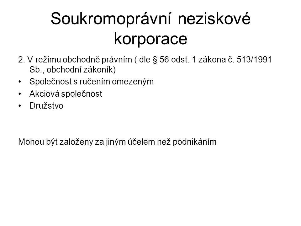 Soukromoprávní neziskové korporace 2. V režimu obchodně právním ( dle § 56 odst.