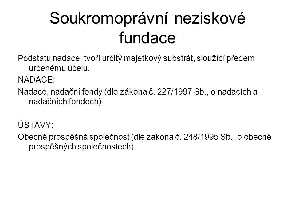 Soukromoprávní neziskové fundace Podstatu nadace tvoří určitý majetkový substrát, sloužící předem určenému účelu. NADACE: Nadace, nadační fondy (dle z