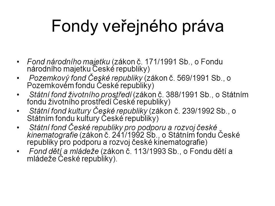 Fondy veřejného práva Fond národního majetku (zákon č. 171/1991 Sb., o Fondu národního majetku České republiky) Pozemkový fond České republiky (zákon