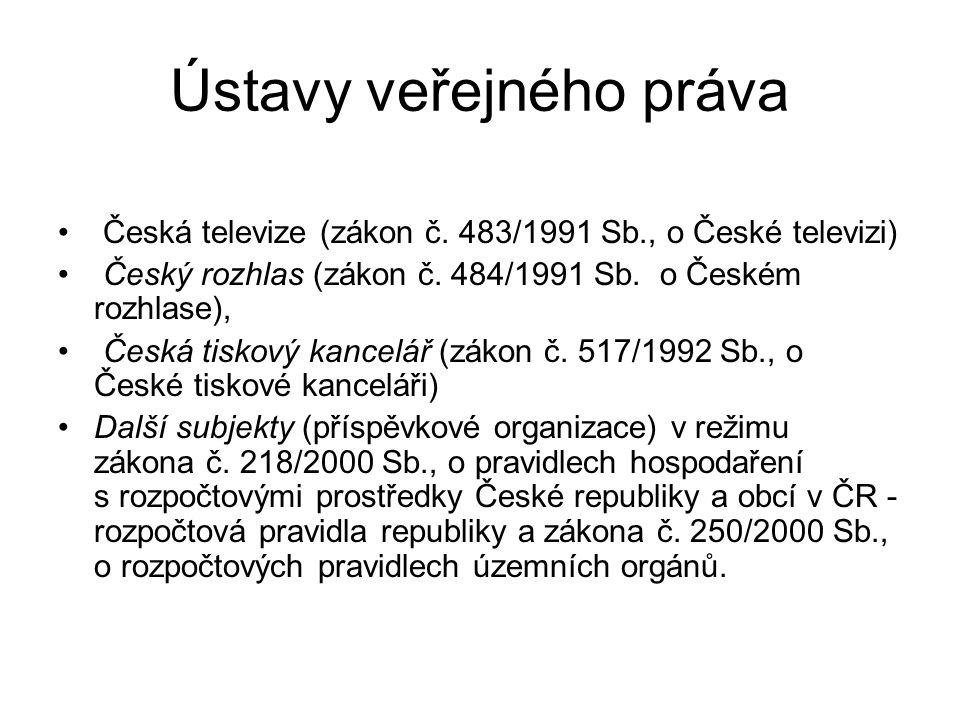Ústavy veřejného práva Česká televize (zákon č. 483/1991 Sb., o České televizi) Český rozhlas (zákon č. 484/1991 Sb. o Českém rozhlase), Česká tiskový