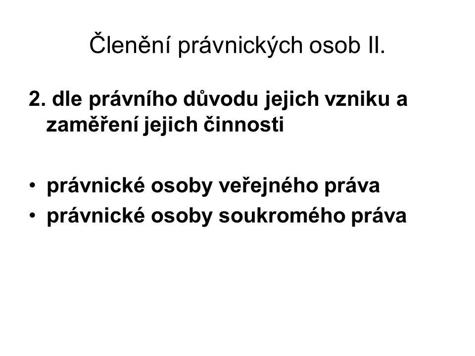 Členění právnických osob II. 2. dle právního důvodu jejich vzniku a zaměření jejich činnosti právnické osoby veřejného práva právnické osoby soukroméh