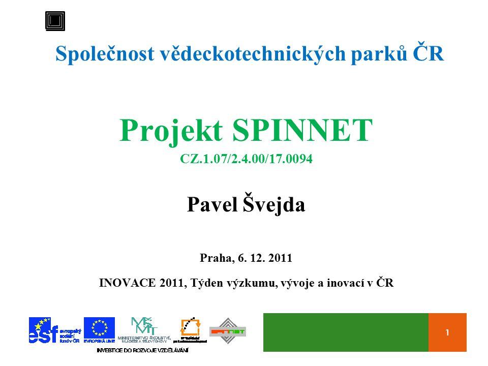 1 Společnost vědeckotechnických parků ČR Projekt SPINNET CZ.1.07/2.4.00/17.0094 Pavel Švejda Praha, 6.