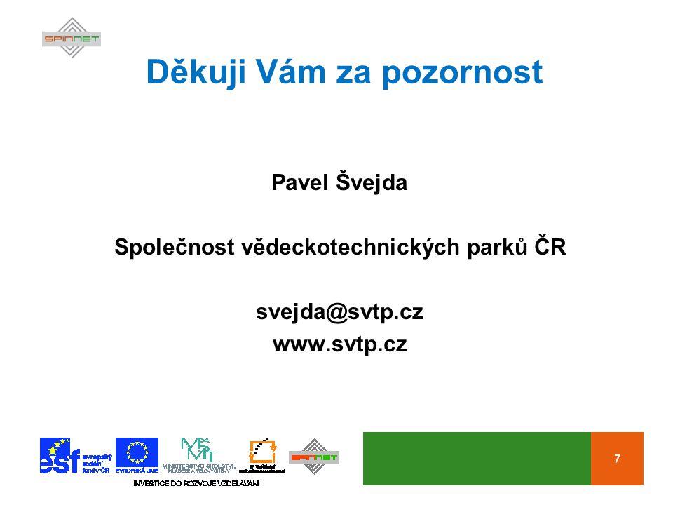 7 Děkuji Vám za pozornost Pavel Švejda Společnost vědeckotechnických parků ČR svejda@svtp.cz www.svtp.cz