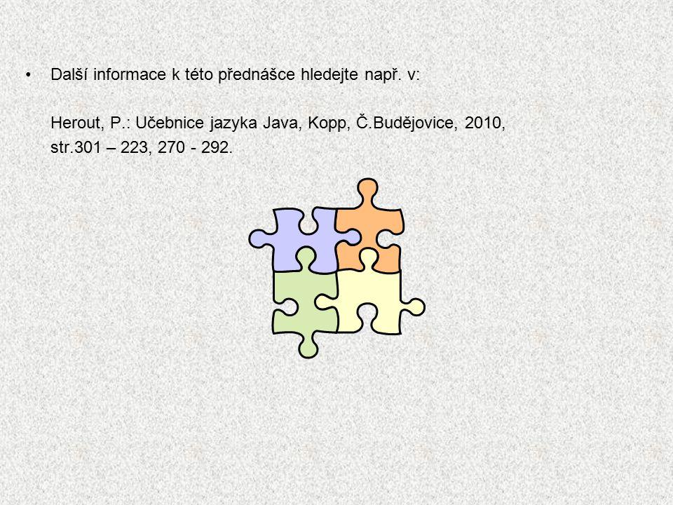 A0B36PRI - Algoritmy I 10 Chceme-li ošetřit výjimku, která může vzniknout při provádění určité operace, je třeba operaci vložit do bloku try, ke kterému je připojen blok (klauzule) catch ošetřující (zachytávající) výjimky daného typu Příklad: ošetření překročení mezí pole class Vyjimka { void volana(int[] pole) { try { int i = 10; pole[i] = 0; } catch (ArrayIndexOutOfBoundsException io) { System.out.println( Ignoruji prekroceni... ); } System.out.print( v metode....\n ); } public static void main(String[] args) { int[] pole={1,2,3}; new Vyjimka().volana(pole); System.out.print( a konec ); } } v metode....