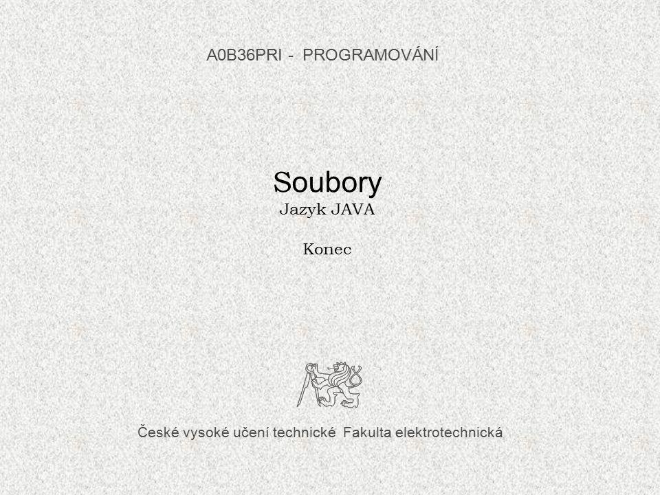 Další informace k této přednášce hledejte např. v: Herout, P.: Učebnice jazyka Java, Kopp, Č.Budějovice, 2010, str.301 – 223, 270 - 292.