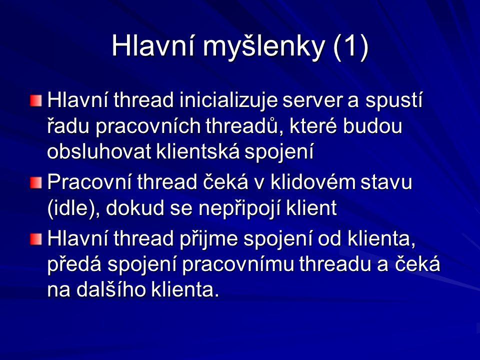 Hlavní myšlenky (2) V Javě je inicializace threadu spojena s řadou činností, a tedy pomalá.