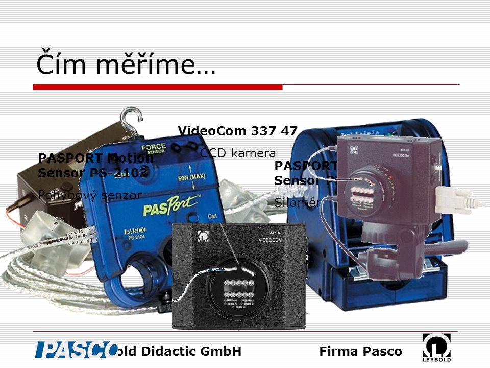 Čím měříme… PASPORT Motion Sensor PS-2103 Pohybový senzor PASPORT Force Sensor PS-2104 Siloměr Firma PascoFirma Leybold Didactic GmbH VideoCom 337 47