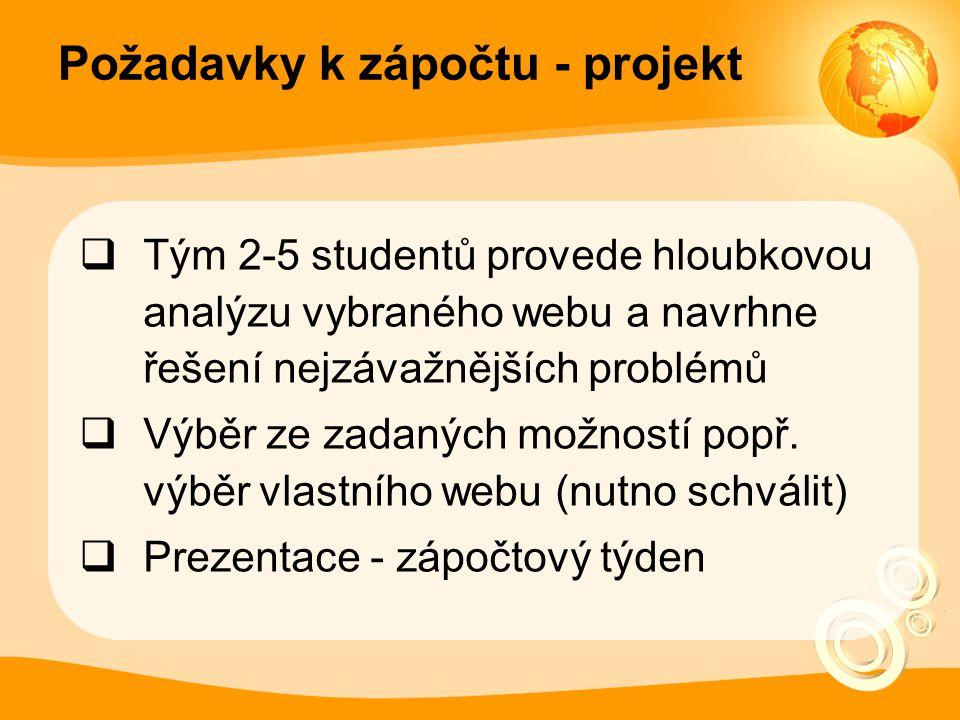 Požadavky k zápočtu - projekt  Tým 2-5 studentů provede hloubkovou analýzu vybraného webu a navrhne řešení nejzávažnějších problémů  Výběr ze zadaných možností popř.