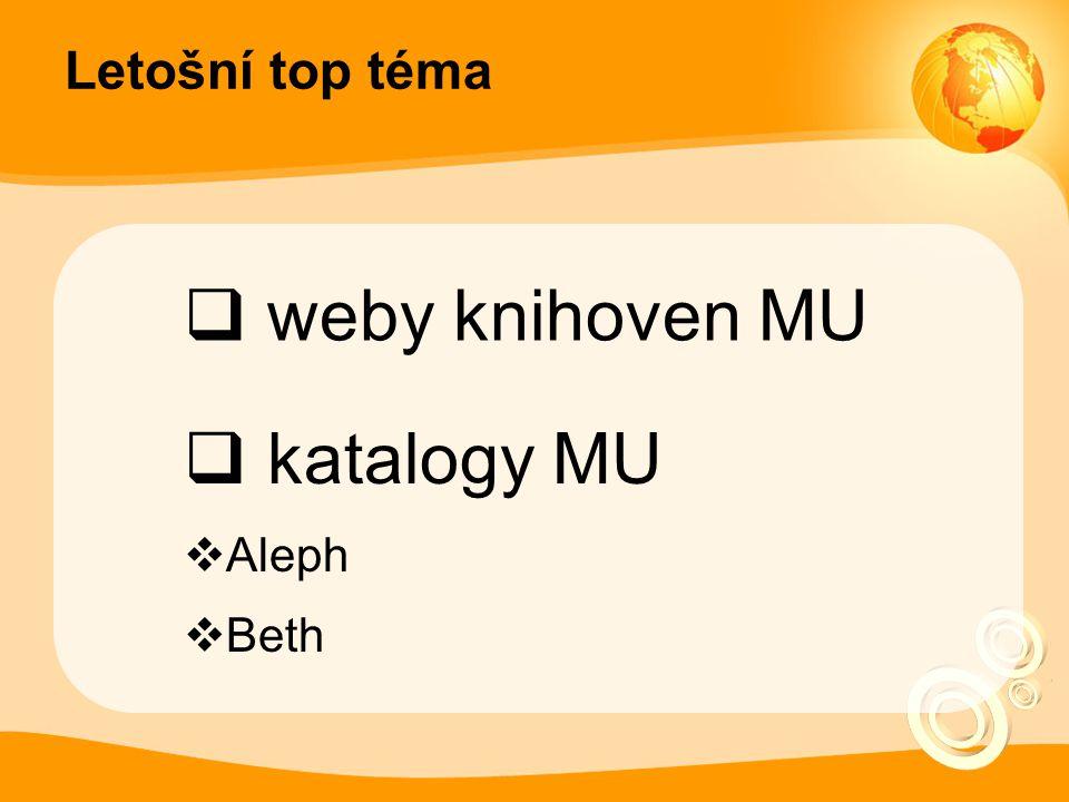 Letošní top téma  weby knihoven MU  katalogy MU  Aleph  Beth