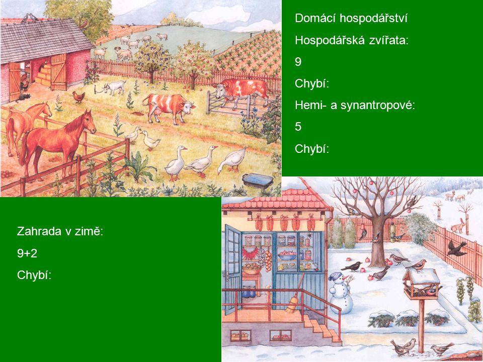 Domácí hospodářství Hospodářská zvířata: 9 Chybí: Hemi- a synantropové: 5 Chybí: Zahrada v zimě: 9+2 Chybí: