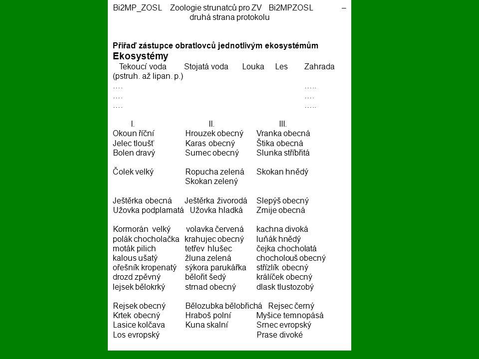 Bi2MP_ZOSL Zoologie strunatců pro ZV Bi2MPZOSL – druhá strana protokolu Přiřaď zástupce obratlovců jednotlivým ekosystémům Ekosystémy Tekoucí voda Sto