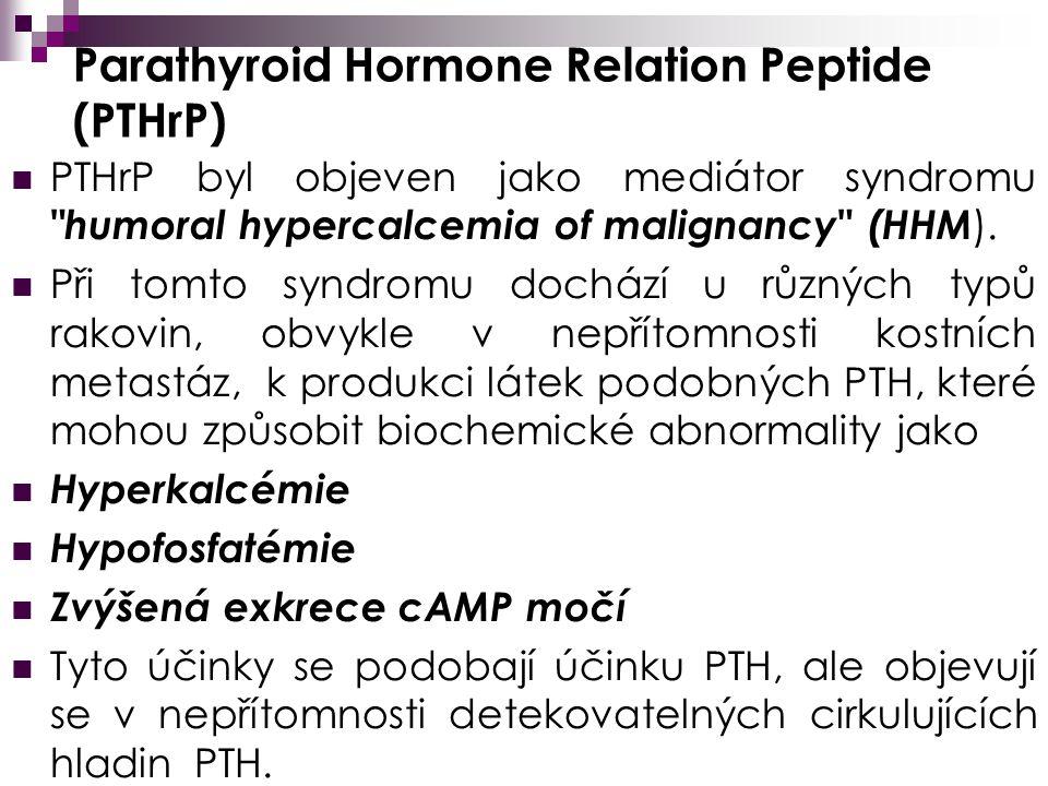 Parathyroid Hormone Relation Peptide (PTHrP) PTHrP byl objeven jako mediátor syndromu humoral hypercalcemia of malignancy (HHM ).