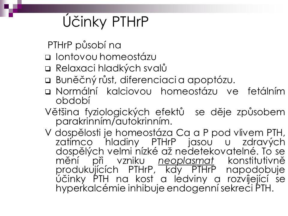 Účinky PTHrP PTHrP působí na  Iontovou homeostázu  Relaxaci hladkých svalů  Buněčný růst, diferenciaci a apoptózu.