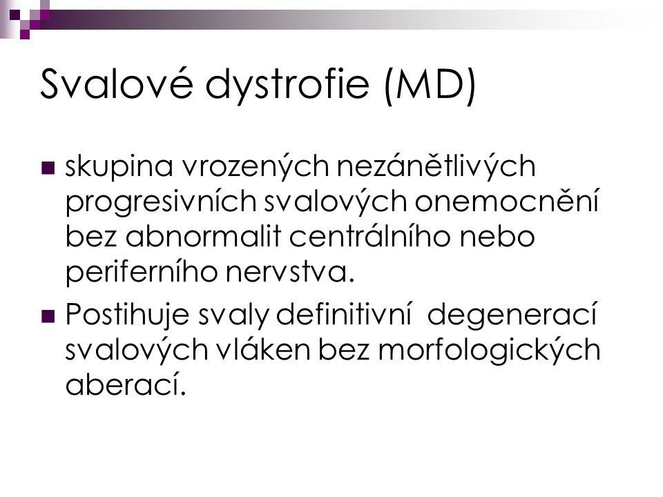 Svalové dystrofie (MD) skupina vrozených nezánětlivých progresivních svalových onemocnění bez abnormalit centrálního nebo periferního nervstva.