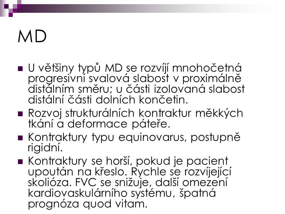 MD U většiny typů MD se rozvíjí mnohočetná progresivní svalová slabost v proximálně distálním směru; u části izolovaná slabost distální části dolních končetin.