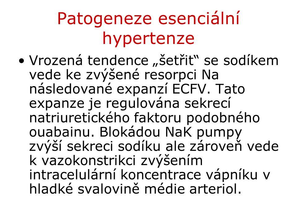 """Patogeneze esenciální hypertenze Vrozená tendence """"šetřit"""" se sodíkem vede ke zvýšené resorpci Na následované expanzí ECFV. Tato expanze je regulována"""