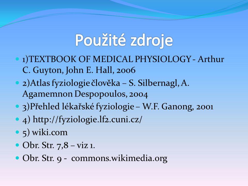 1)TEXTBOOK OF MEDICAL PHYSIOLOGY - Arthur C. Guyton, John E. Hall, 2006 2)Atlas fyziologie člověka – S. Silbernagl, A. Agamemnon Despopoulos, 2004 3)P