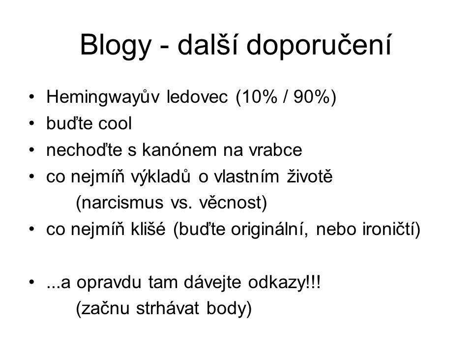 Blogy - další doporučení Hemingwayův ledovec (10% / 90%) buďte cool nechoďte s kanónem na vrabce co nejmíň výkladů o vlastním životě (narcismus vs. vě