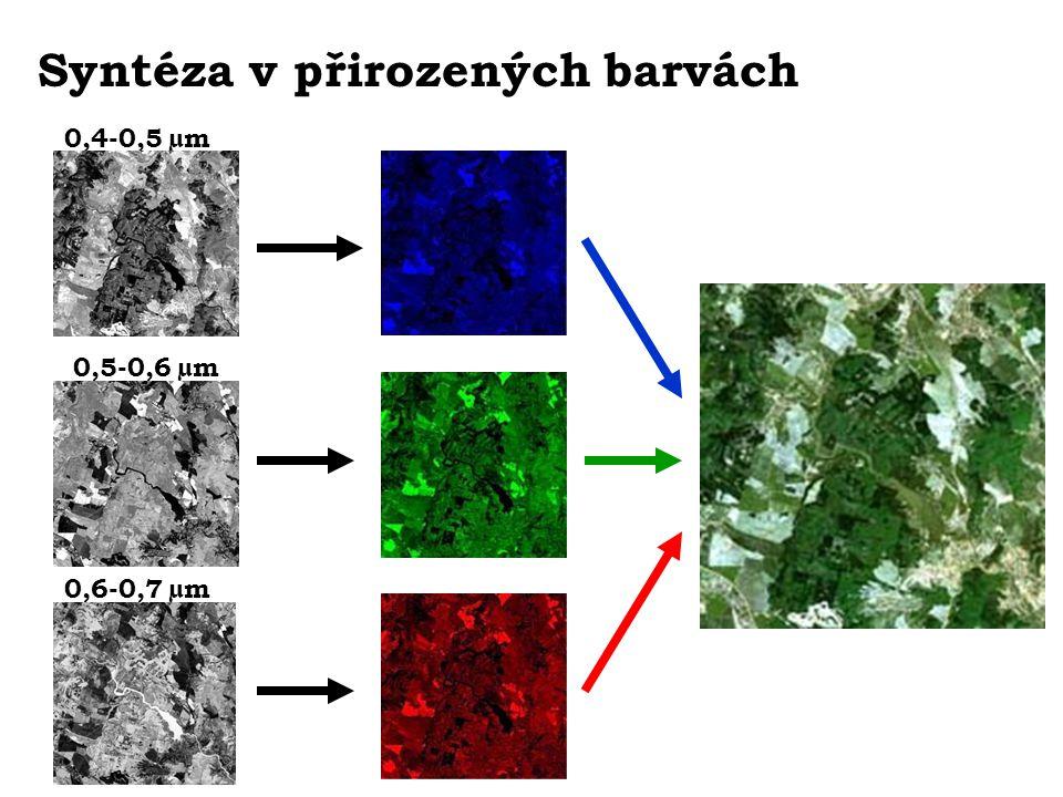 Syntéza v přirozených barvách 0,4-0,5 µm 0,5-0,6 µm 0,6-0,7 µm
