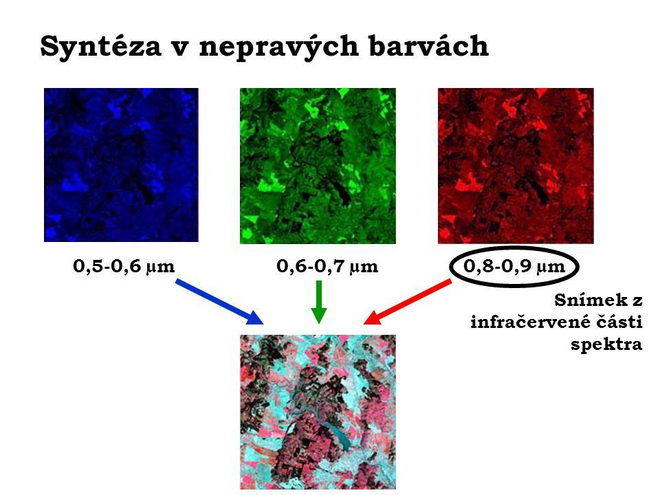 Syntéza v nepravých barvách 0,8-0,9 µm0,5-0,6 µm0,6-0,7 µm Snímek z infračervené části spektra
