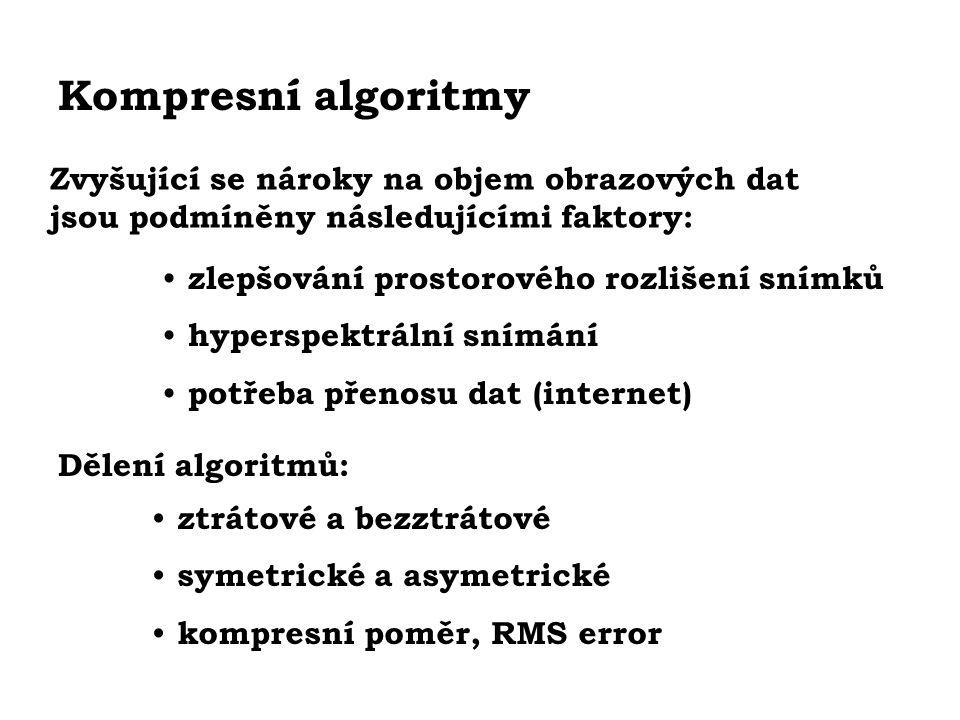Kompresní algoritmy ztrátové a bezztrátové symetrické a asymetrické kompresní poměr, RMS error Zvyšující se nároky na objem obrazových dat jsou podmín