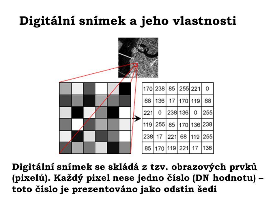 Digitální snímek a jeho vlastnosti Digitální snímek se skládá z tzv. obrazových prvků (pixelů). Každý pixel nese jedno číslo (DN hodnotu) – toto číslo