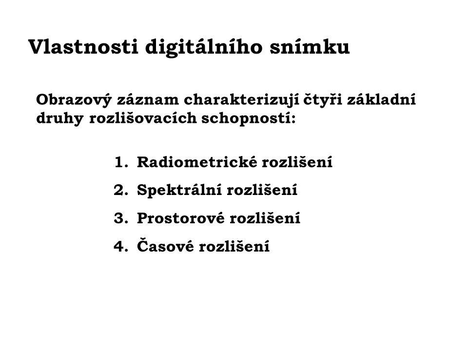 Vlastnosti digitálního snímku Obrazový záznam charakterizují čtyři základní druhy rozlišovacích schopností: 1.Radiometrické rozlišení 2.Spektrální roz
