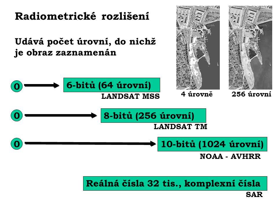 0 6-bitů (64 úrovní) 0 0 8-bitů (256 úrovní) 10-bitů (1024 úrovní) NOAA - AVHRR LANDSAT MSS LANDSAT TM Reálná čísla 32 tis., komplexní čísla SAR Radio