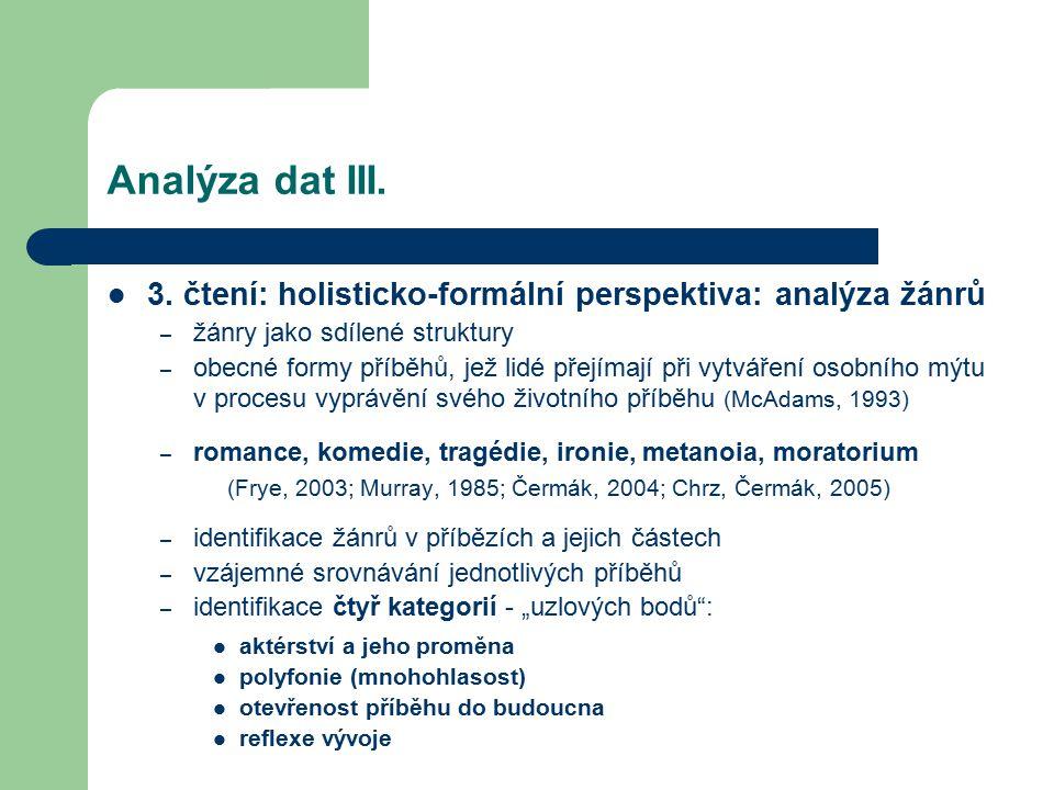 Analýza dat III. 3. čtení: holisticko-formální perspektiva: analýza žánrů – žánry jako sdílené struktury – obecné formy příběhů, jež lidé přejímají př