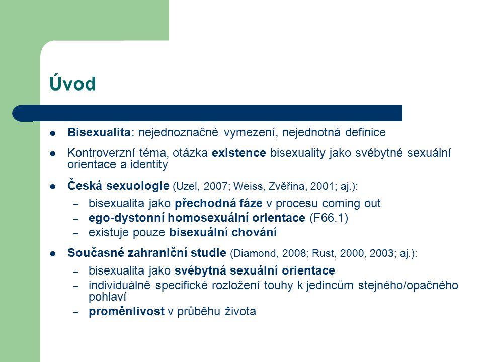 Úvod Bisexualita: nejednoznačné vymezení, nejednotná definice Kontroverzní téma, otázka existence bisexuality jako svébytné sexuální orientace a ident
