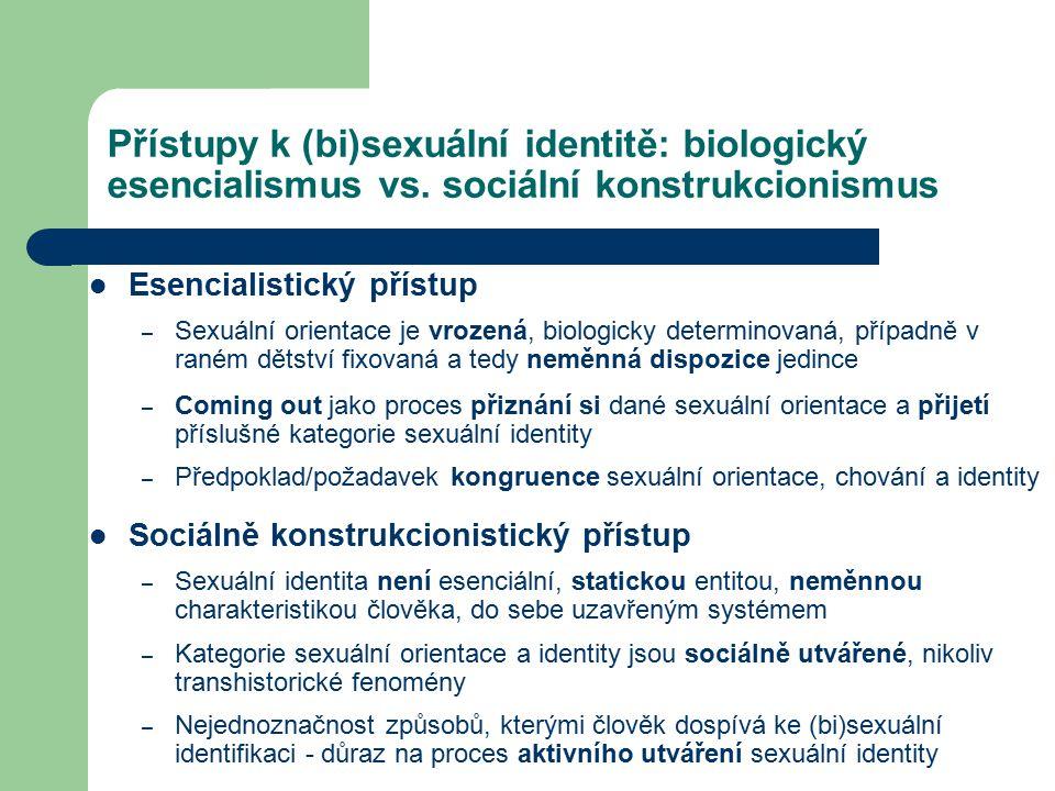 Přístupy k (bi)sexuální identitě: biologický esencialismus vs. sociální konstrukcionismus Esencialistický přístup – Sexuální orientace je vrozená, bio