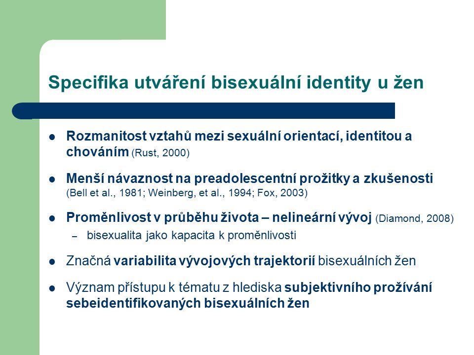 Specifika utváření bisexuální identity u žen Rozmanitost vztahů mezi sexuální orientací, identitou a chováním (Rust, 2000) Menší návaznost na preadole