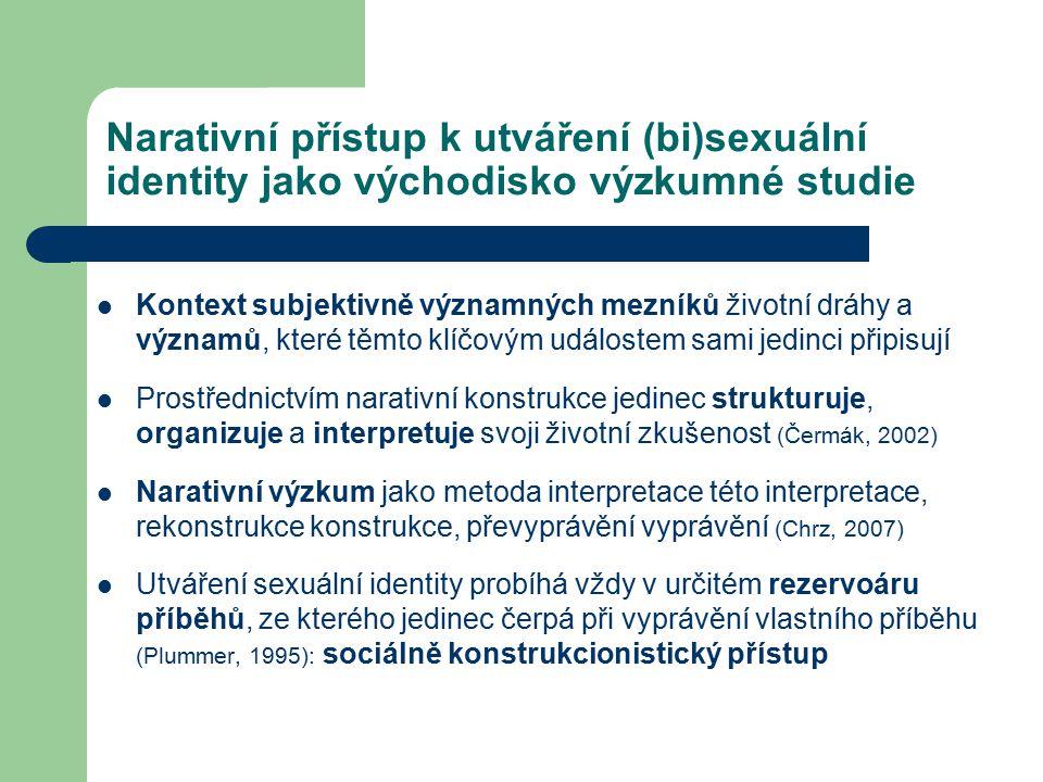 Narativní přístup k utváření (bi)sexuální identity jako východisko výzkumné studie Kontext subjektivně významných mezníků životní dráhy a významů, kte