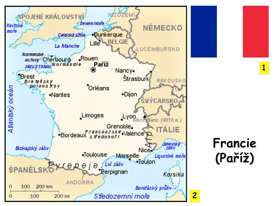 šestiúhelníkový tvar státního území evropská část Franci má rozlohu 547 030 km² spolu se zámořskými územími je to 674 843 km² povrch se zvedá od západu k východu Francouzská nížina, Francouzské středohoří, Alpy, Jura, Pyreneje, Ardeny, nejvyšší vrchol Mont Blanc 4 807 m n.