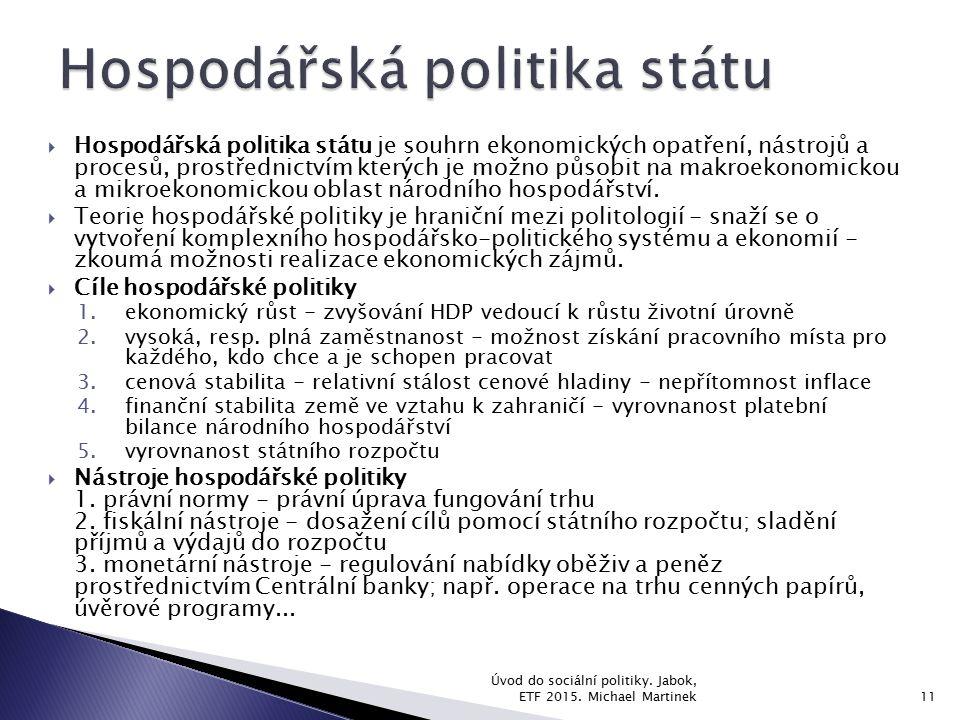  Hospodářská politika státu je souhrn ekonomických opatření, nástrojů a procesů, prostřednictvím kterých je možno působit na makroekonomickou a mikro