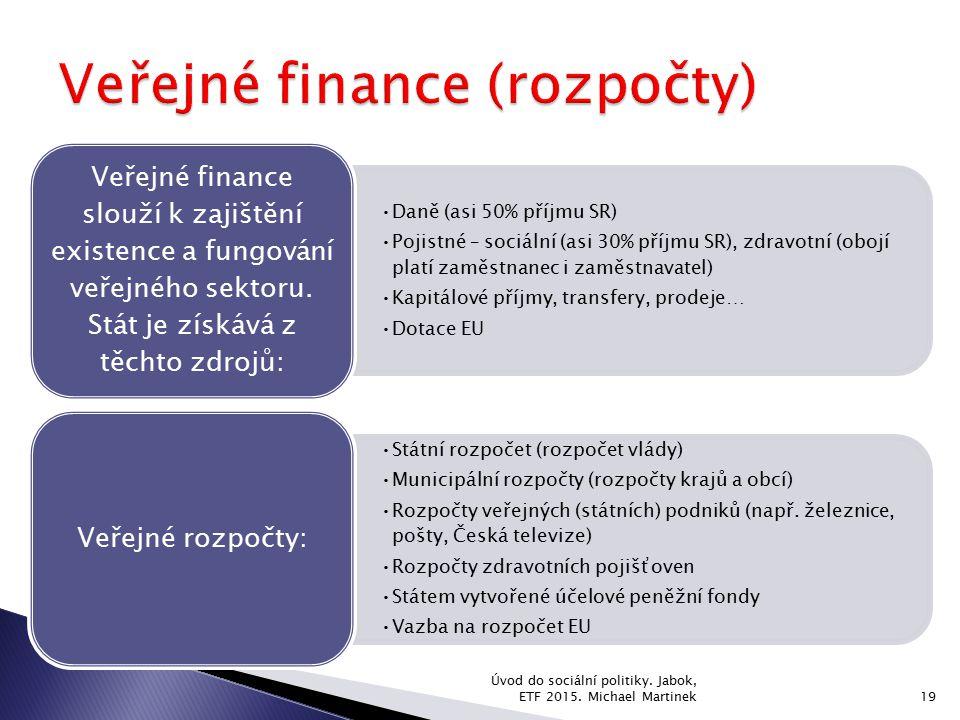Daně (asi 50% příjmu SR) Pojistné – sociální (asi 30% příjmu SR), zdravotní (obojí platí zaměstnanec i zaměstnavatel) Kapitálové příjmy, transfery, pr