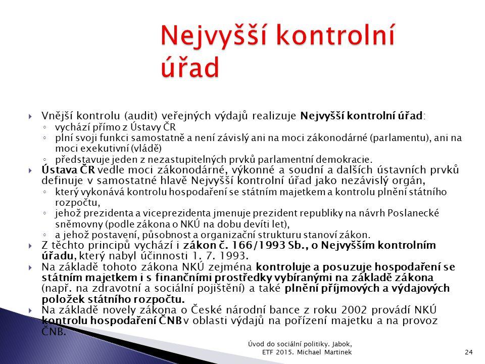  Vnější kontrolu (audit) veřejných výdajů realizuje Nejvyšší kontrolní úřad: ◦ vychází přímo z Ústavy ČR ◦ plní svoji funkci samostatně a není závisl
